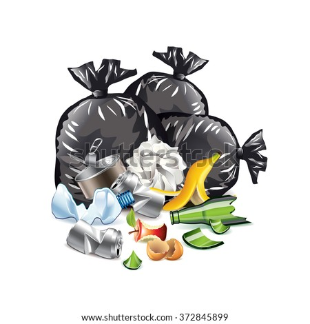 Waste isolated on white photo-realistic vector illustration - stock vector