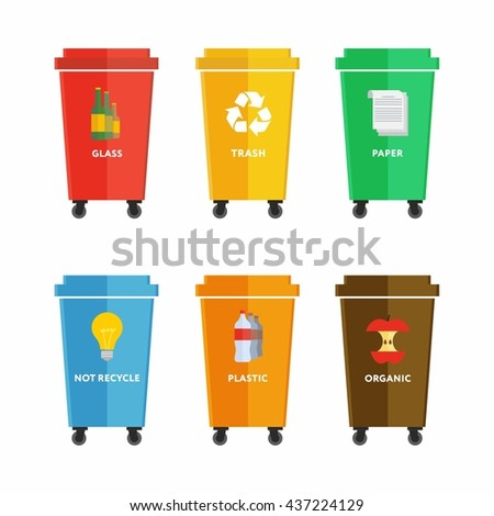 Waste management concept illustration. Waste segregation. Separation of waste on garbage cans. Sorting waste for recycling. Disposal waste. Colored waste bins with trash.  - stock vector