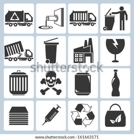 waste management icons, garbage icons - stock vector
