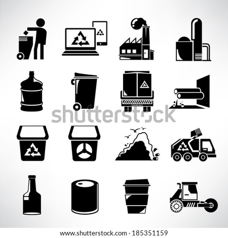 waste management icons set, garbage icons