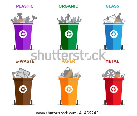 Waste segregation and garbage recycling sorts and categories. Colored recycle bin vector illustrations. Plastic, organic, glass, electronic waste, paper and metal waste types. - stock vector