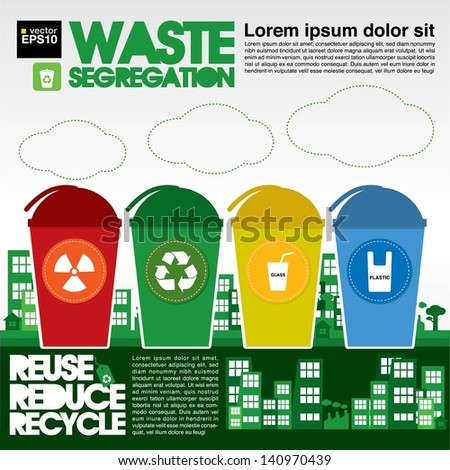Waste Segregation Illustration Vector.EPS10 - stock vector