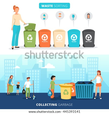 Waste sorting bins for paper plastic glass and batteries 2 flat banners with garbage collectors abstract vector illustration  - stock vector