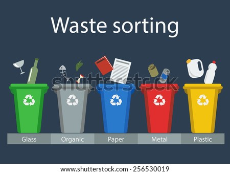 Waste sorting, flat style, vector illustration - stock vector