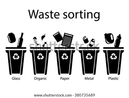 Waste sorting, flat style, vector illustration. Black icons on a white background - stock vector