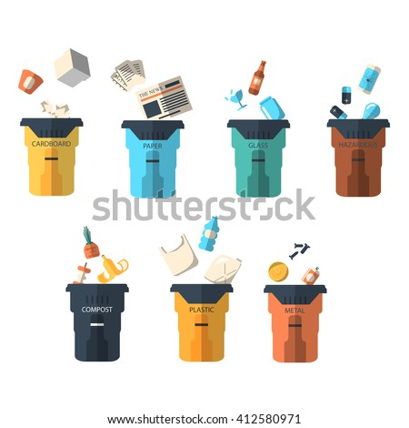 Waste sorting of garbage types set vector. Waste management concept. Separation of waste on trash garbage bins. Sorting waste. Colored garbage cans with waste types vector. - stock vector