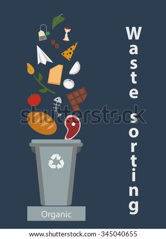Waste sorting, organic waste, bio, flat style, vector illustration - stock vector