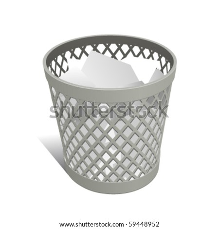 Wastepaper Basket white full - stock vector