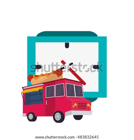 watch and  fast food truck  icon