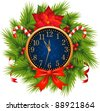 Watch decorated Christmas wreath (New Year's Eve) - stock vector