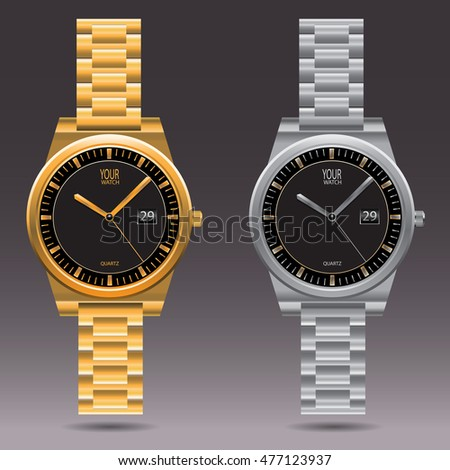 watch gold silver collection design vector stock vector royalty