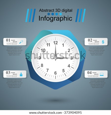 Watch icon. Clock icon. Abstract 3D digital illustration Infographic. - stock vector