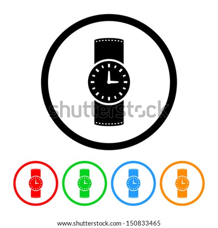 Watch Icon in Vector Format with Color Variations - stock vector