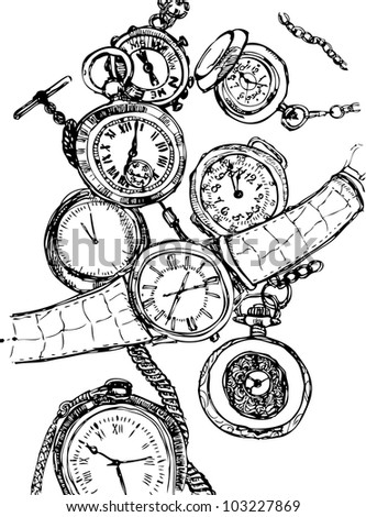 Watch set sketch in vector - stock vector