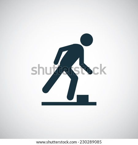 watch your step icon on white background  - stock vector