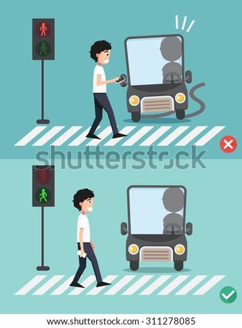 watch your step.men on the crosswalk ,illustration,vector - stock vector