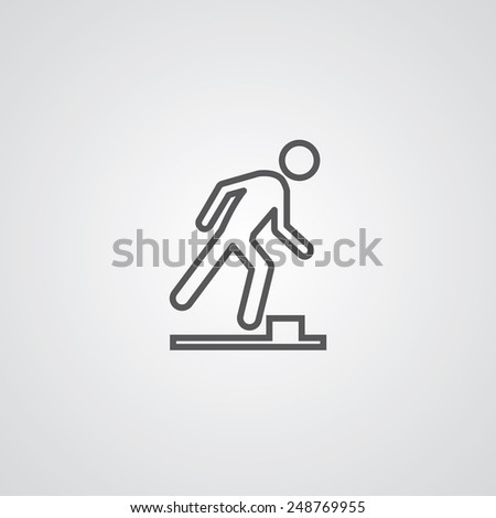 watch your step outline thin symbol, dark on white background, logo editable, creative template  - stock vector