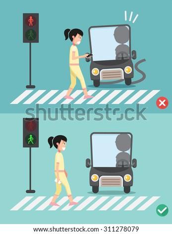 watch your step.women on the crosswalk ,illustration,vector - stock vector