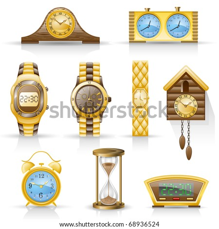 Watches isolated on white background. - stock vector
