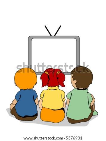 Watching TV - Vector - stock vector