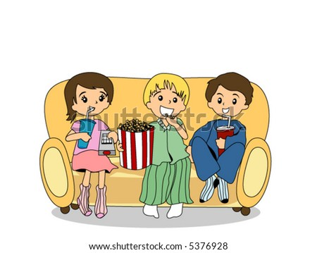 Watching TV with Popcorns and Drinks - Vector - stock vector