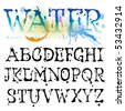 Water alphabet - stock vector