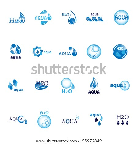Water And Drop Icons Set - Isolated On White Background - Vector Illustration, Graphic Design Editable For Your Design. Water Logo - stock vector