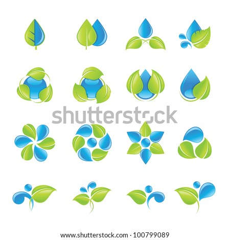 Water and leaves icon set - stock vector