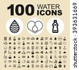 Water and nature icons. Drink pictogram. Liquid vector graphic. Bottle design collection. - stock vector