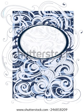 Water and wind swirls ornament with copy space frame