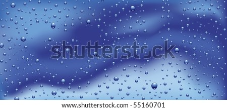 Water background, banner, water drop on glass, heart on glass . Vector illustration. - stock vector