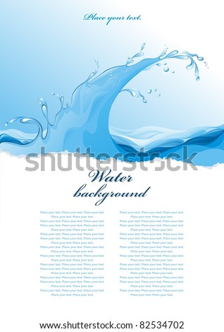 Water background. Wave. Vector illustration. - stock vector