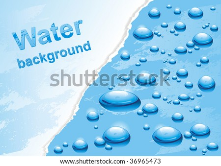 Water background with drops. Vector illustration. - stock vector