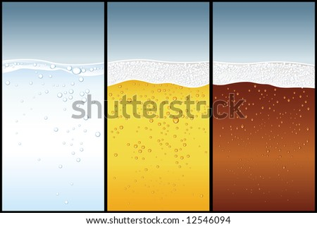 Water, Beer, Cola bubbles - stock vector