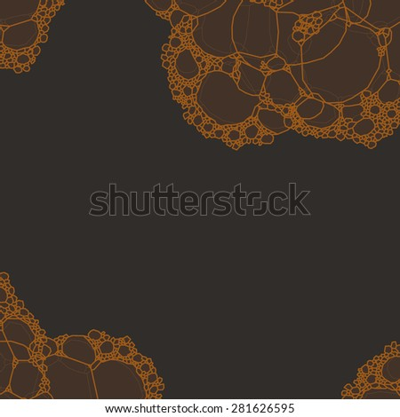 Water (beer) foam bubbles abstract on dark background - stock vector