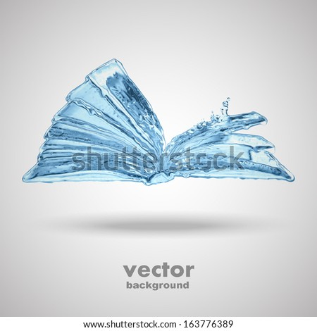 water book splashes isolated, vector background - stock vector