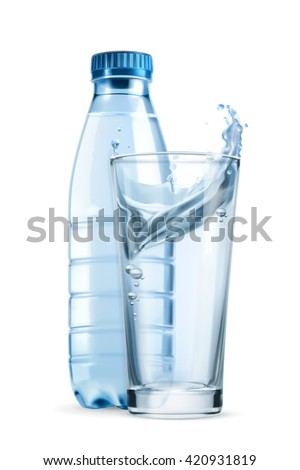 Water bottle and glass, vector icon - stock vector