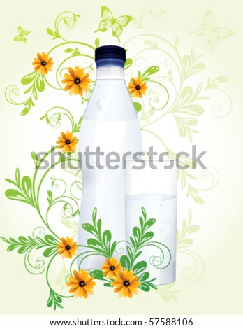 Water bottle and glass with floral decoration, vector