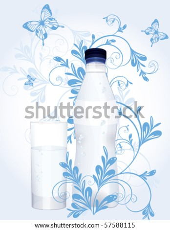 Water bottle and glass with floral decoration, vector - stock vector