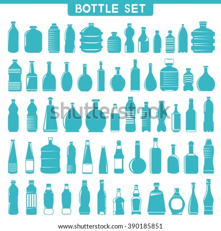 water bottle icon set, vector bottle collection - stock vector