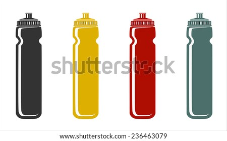 water bottles for outdoor activities - stock vector