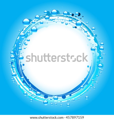 Water Bubbles Border Over Blue Background with Space For Personalization