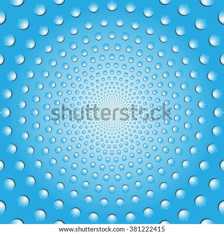 Water bubbles. Water drops on glass.  Blue  Light Abstract background geometrical ornament pattern with water drops. Vector illustration. - stock vector