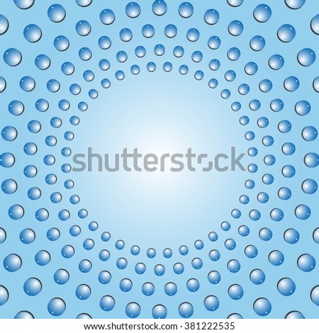 Water bubbles. Water drops on glass.  Blue Light Abstract background geometrical ornament pattern with water drops. For greeting card, presentation, card, flyer.  Vector illustration. - stock vector