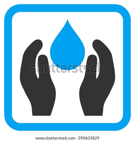 Water Care vector icon. Style is bicolor flat symbol in a rounded square frame, blue and gray colors, white background.