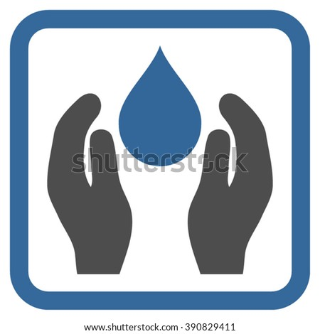 Water Care vector icon. Style is bicolor flat symbol in a rounded square frame, cobalt and gray colors, white background.