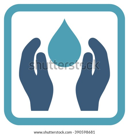 Water Care vector icon. Style is bicolor flat symbol in a rounded square frame, cyan and blue colors, white background.