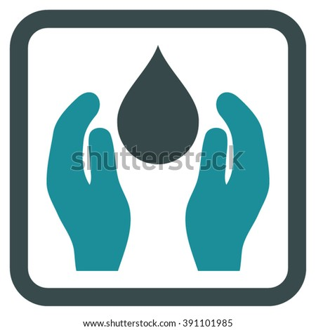 Water Care vector icon. Style is bicolor flat symbol in a rounded square frame, soft blue colors, white background.