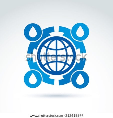 Water circulation around the globe icon, vector conceptual stylish symbol for your design. - stock vector