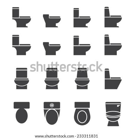 water closet icon set - stock vector